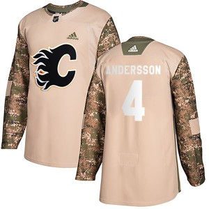 Youth Adidas Calgary Flames Rasmus Andersson Camo Veterans Day Practice Jersey - Authentic