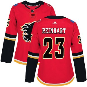 Women's Adidas Calgary Flames Paul Reinhart Red Home Jersey - Authentic
