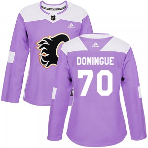 Women's Adidas Calgary Flames Louis Domingue Purple Fights Cancer Practice Jersey - Authentic