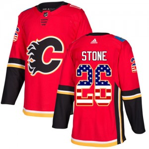 Men's Adidas Calgary Flames Michael Stone Red USA Flag Fashion Jersey - Authentic